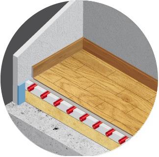 Raysol plancher chauffant hydraulique sous revêtement parquet collé, massif ou stratifié